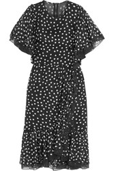 Dolce And Gabbana Lace Trimmed Polka Dot Silk Blend Chiffon Dress Black