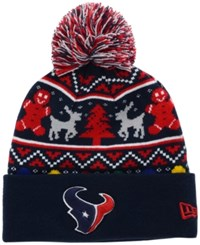 New Era Houston Texans Christmas Sweater Pom Knit Hat