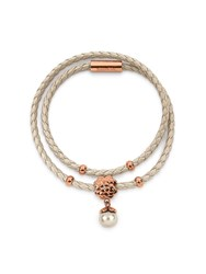 Folli Follie Santorini Flower Beige Double Bracelet Rose Gold