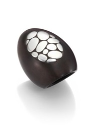 John Hardy Kali Ebony Wood And Sterling Silver Oval Ring Black Silver