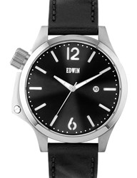 Edwin Watch Silver With Black Leather Band Brook