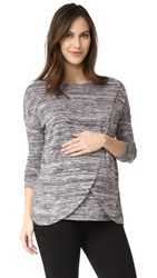 Ingrid And Isabel Drape Crossover Pullover Black White Spacedye