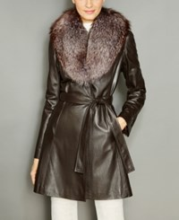 The Fur Vault Fox Collar Belted Leather Coat Dark Brown