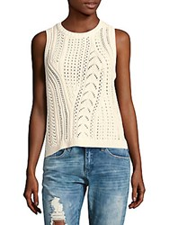 Leo And Sage Boyfriend Perforated Rib Knit Top Ivory