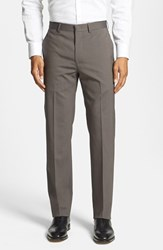 Men's Michael Kors Flat Front Stretch Wool Trousers Taupe