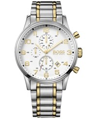 Hugo Boss Men's Chronograph Aeroliner Two Tone Stainless Steel Bracelet Watch 44Mm 1513236
