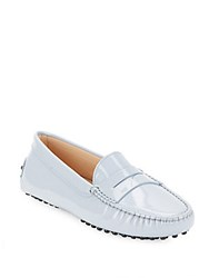 Tod's Leather Moc Toe Slip On Penny Loafers Blue