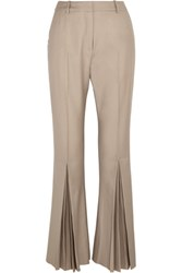 Jonathan Saunders Polly Pleated Wool Flared Pants Taupe