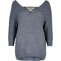 River Island Womens Navy Slouchy Jumper
