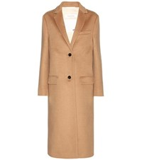 Valentino Rockstud Untitled Wool Coat Brown