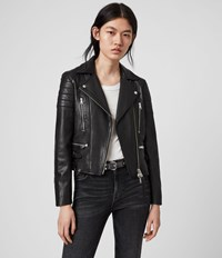 Allsaints Halley Leather Biker Jacket Black