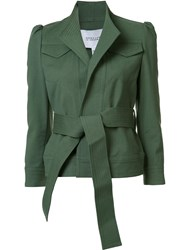 Derek Lam 10 Crosby Stand Collar Belted Jacket Green