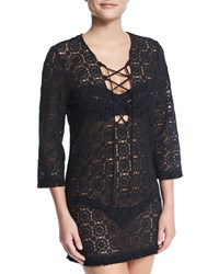 Miguelina Serena Crocheted Lace Coverup Dress Black