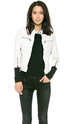 R 13 Cafe Racer Leather Jacket White