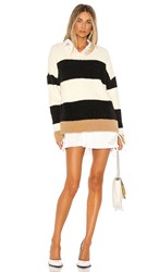 Central Park West Darby Pullover In Ivory. Ivory And Black