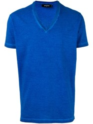 Dsquared2 Slogan V Neck T Shirt Blue