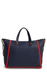 Tory Burch Medium Whipstitch Leather Tote Blue Tory Navy