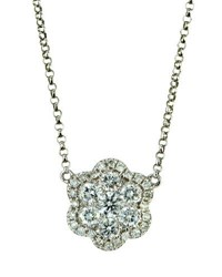 Diana M. Jewels 18K White Gold Diamond Flower Pendant Necklace 0.61Tcw