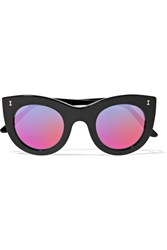 Illesteva Boca Cat Eye Acetate Mirrored Sunglasses Black
