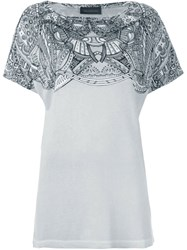 Diesel Black Gold Abstract Print Panel T Shirt Grey