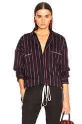 Fear Of God Piped Oversized Shirt In Blue Stripes Blue Stripes
