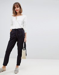 Esprit Drawstring Stripe Trousers In Navy And Mustard