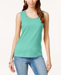Karen Scott Cutout Tank Top Only At Macy's Island Sky