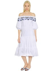Peter Pilotto Off The Shoulder Cotton Poplin Dress