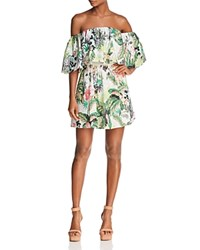 Guess Lucienne Botanical Off The Shoulder Eyelet Dress Floral