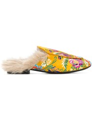 Emanuela Caruso Floral Fur Mules Yellow And Orange