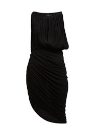 Atlein Micro Pleated Draped Chiffon Midi Dress Black