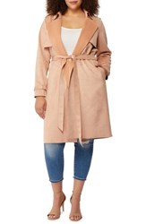 Rebel Wilson X Angels Plus Size Women's Faux Suede Trench Coat Evening Sand
