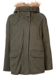 Army Yves Salomon Short High Neck Parka Coat Green