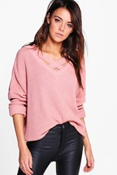 Boohoo Lacey Strap Detail Fisherman Jumper Nude