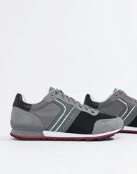 Boss Parkour Runn Suede Nylon Sneakers In Gray Gray