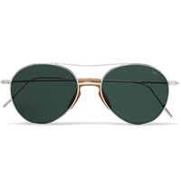 Eyevan 7285 Metal Aviator Sunglasses Green