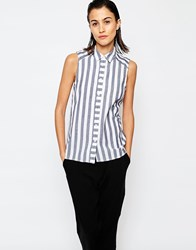 Warehouse Sleeveless Stripe Shirt Navy And White Stripe Multi