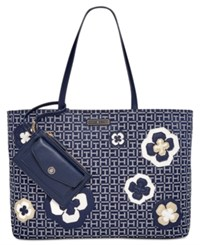 Tommy Hilfiger Novelty Logo Embellished Monogram Tote Navy White