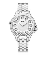 Fendi Crazy Carats Diamond White Topaz Black Spinel And Stainless Steel Medium Bracelet Watch Silver