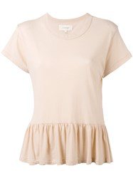 The Great Peplum T Shirt Women Cotton Xxs Nude Neutrals