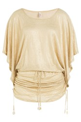 Luli Fama Metallic Tunic Gold