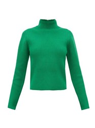 Tibi Zip Through Roll Neck Ribbed Sweater Green