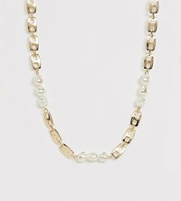 Reclaimed Vintage Inspired Chain Necklace With Faux Pearl Detail Gold