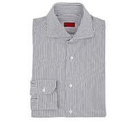 Isaia Striped Cotton Dress Shirt Navy