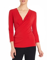 Ellen Tracy Surplice Wrap Top Red