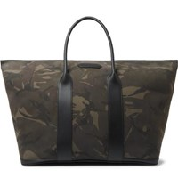 Tom Ford Leather Trimmed Camouflage Print Nubuck Tote Bag Black