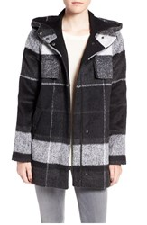 Kristen Blake Women's Plaid Hooded Stadium Jacket