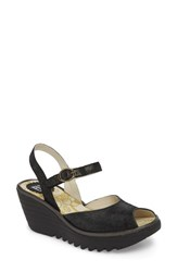 Fly London 'S Yora Wedge Sandal Black Graphite Leather