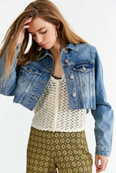 Urban Outfitters Uo Frayed Cropped Trucker Jacket Light Blue