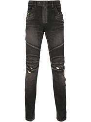 Balmain Distressed Biker Jeans Black